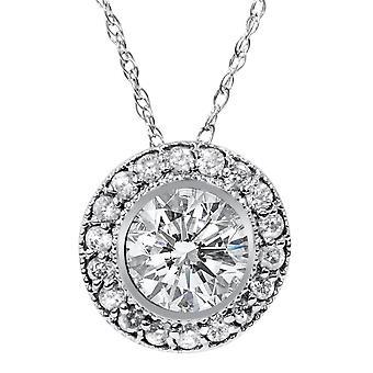 1ct Vintage diamant Solitaire Halo hänge 14K vitt guld
