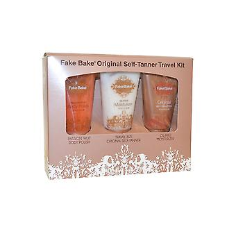 Fake Bake Original Self Tanner Kit de voyage 3 x 60ml Self Tanner, hydratant, corps polonais