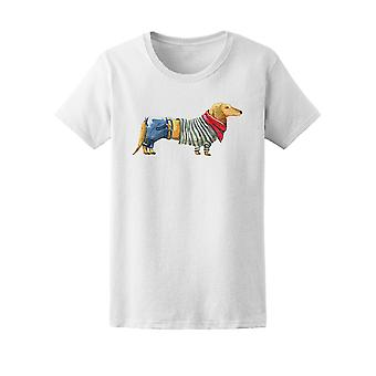 Cool & Cute Hipster Dachshund Tee Women's -Image by Shutterstock