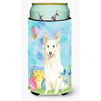 Easter Eggs White Collie Tall Boy Beverage Insulator Hugger