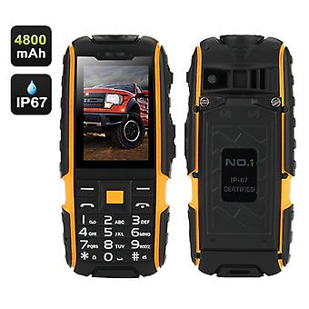 NO.1 A9 GSM Phone – 4800mAh Battery, 2.4 Inch 240x320 Screen, Dual SIM, IP67 Waterproof Rating, FM Radio, Flashlight (Yellow)