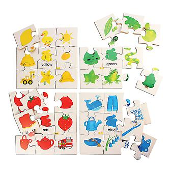 Bigjigs Toys Educational Colours Puzzles Set 1 (Set of 4 Puzzles) Jigsaw Learn