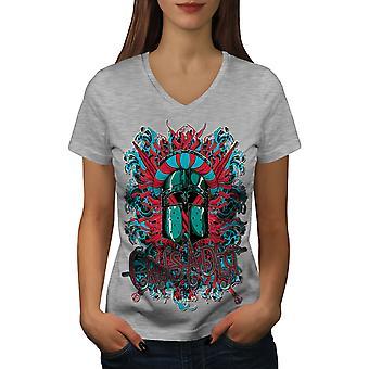 Crusader Knight femmes GreyV-Neck T-shirt | Wellcoda