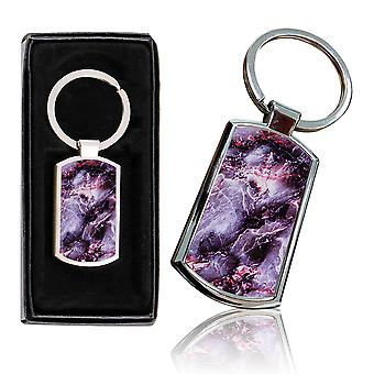 i-Tronixs - Premium Marble Design Chrome Metal Keyring with Free Gift Box (1-Pack) - 0030