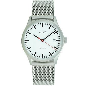 Aristo men's watch automatic stainless steel 3H191M Milanaiseband station