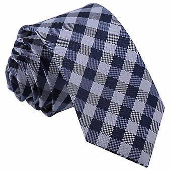 Marineblaue Gingham Check Slim Krawatte