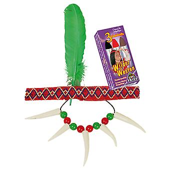 Indians set 3 PCs headband spring chain Schminkstifte of Wild West accessory