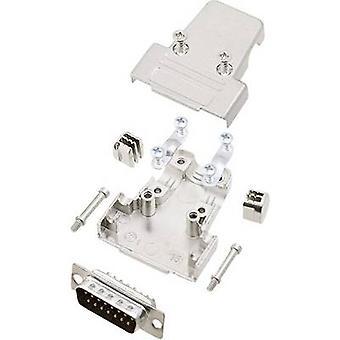 D-SUB pin strip set 180 ° Number of pins: 15 Solder bucket encitech TRI-M-15-DMP-K 1 Set