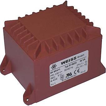 PCB mount transformer 1 x 230 V 1 x 15 V AC 36 VA 2.40 A 85/413 Weiss Elektrotechnik