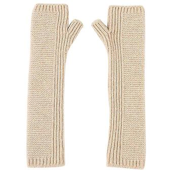 Johnstons of Elgin Cashmere Purl Stitch Long Wrist Warmer Gloves - Natural Beige