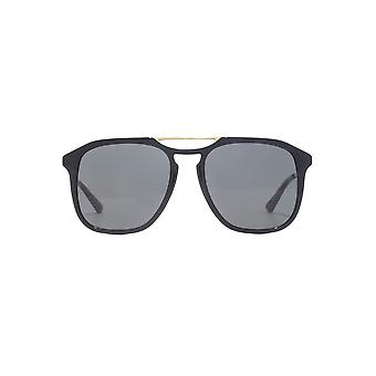 Gucci Double Keyhole Square Pilot Sunglasses In Black