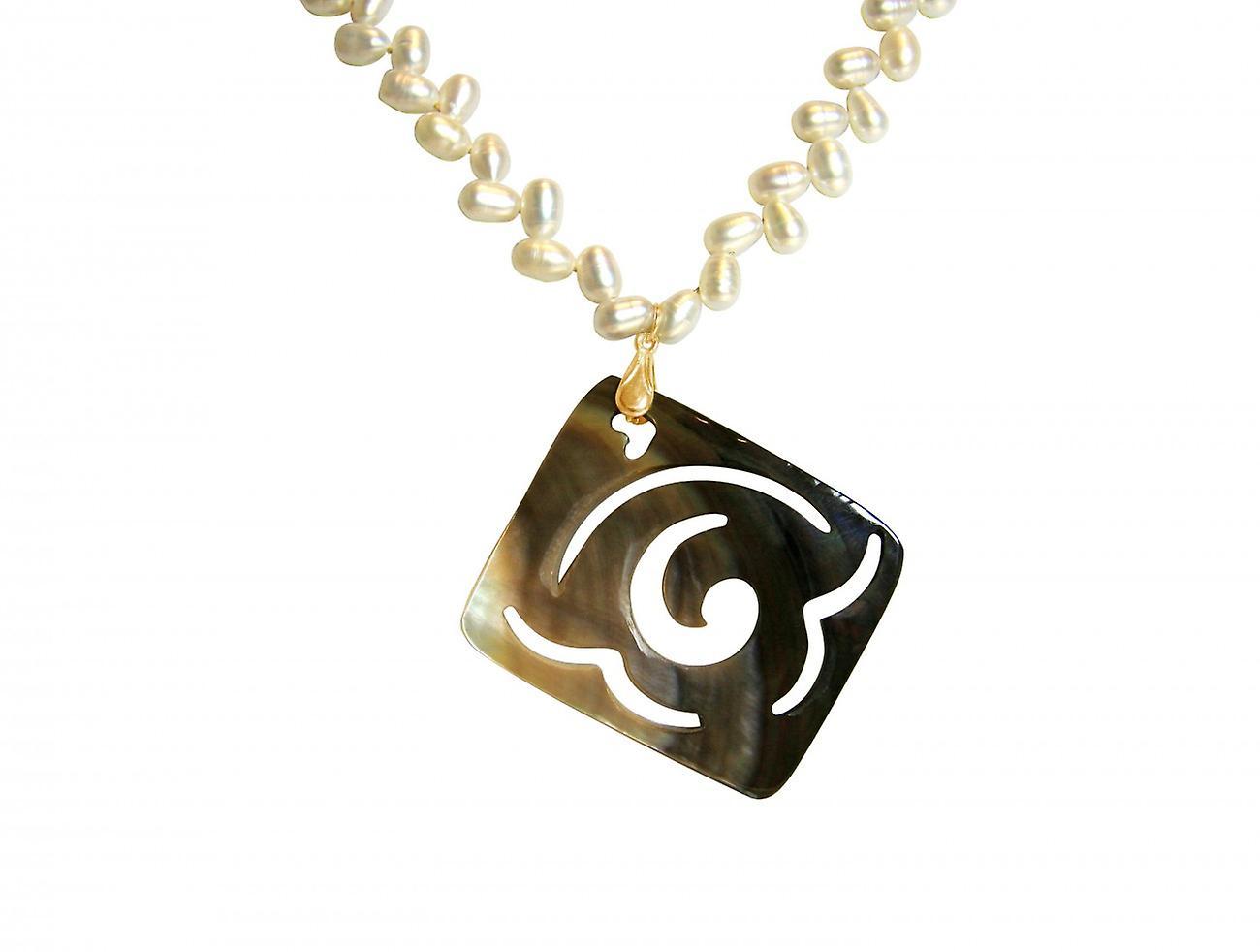 Gemshine - femmes - Halskette - Anhänger - Medaillon - Perlen - Perlmutt - Veroret - Bronze - gris - blanc - 7 cm