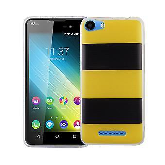 Caso móvil para adorno de bolsa protectora caso WIKO Lenny 2 cubierta TPU delgado + protección de la armadura de cristal 9 H amarillo / negro