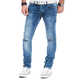 Tazzio fashion men's denim trousers with knee vents blue