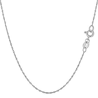 10k White Gold Rope Chain Necklace, 0.5mm