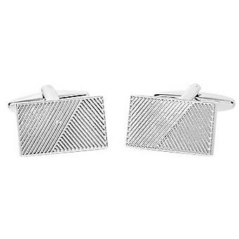 David Van Hagen Shiny Rectangle Ribbed Design Stripe Cufflinks - Silver