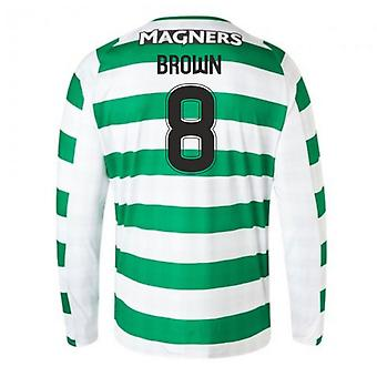 2018-2019 Celtic Home Long Sleeve Shirt (Brown 8)