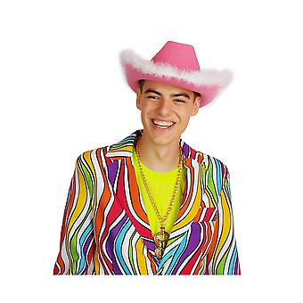 Hair accessories  Hot pink cowboy hat with white Marabou