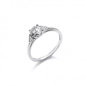 Cavendish French Silver and CZ Solitaire Deco Style Ring