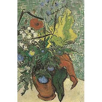Flores silvestres e cardos em um vaso, Vincent Van Gogh, 67x47cm