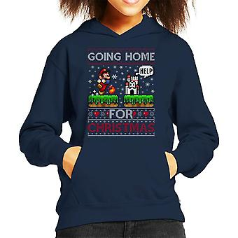 Super Mario Going Home For Christmas Knit Pattern Kid's Hooded Sweatshirt