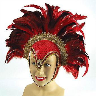 Feather Helmet Red Jewel + Plume.