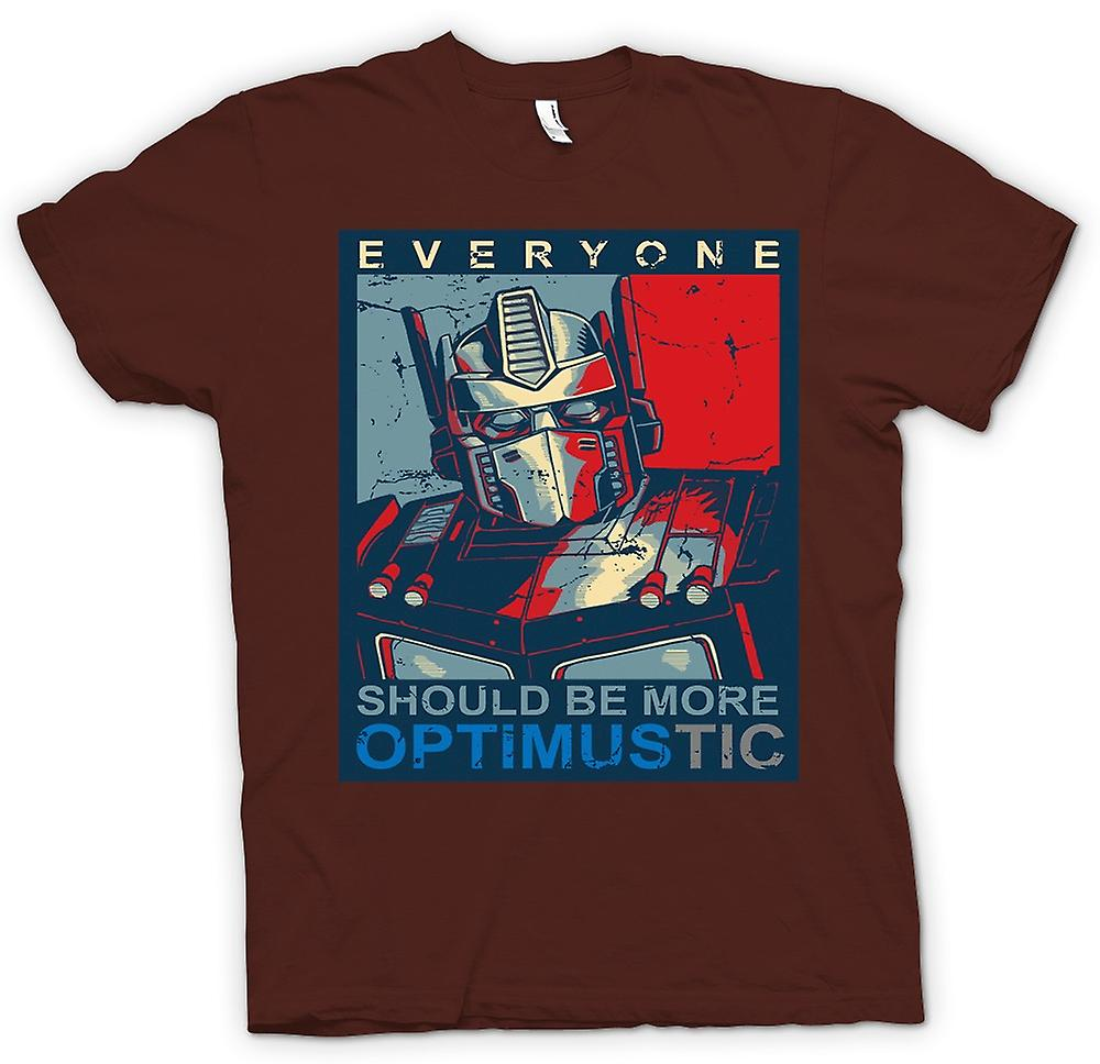 Mens T-shirt-Transformers Optimus Primus Optimustic