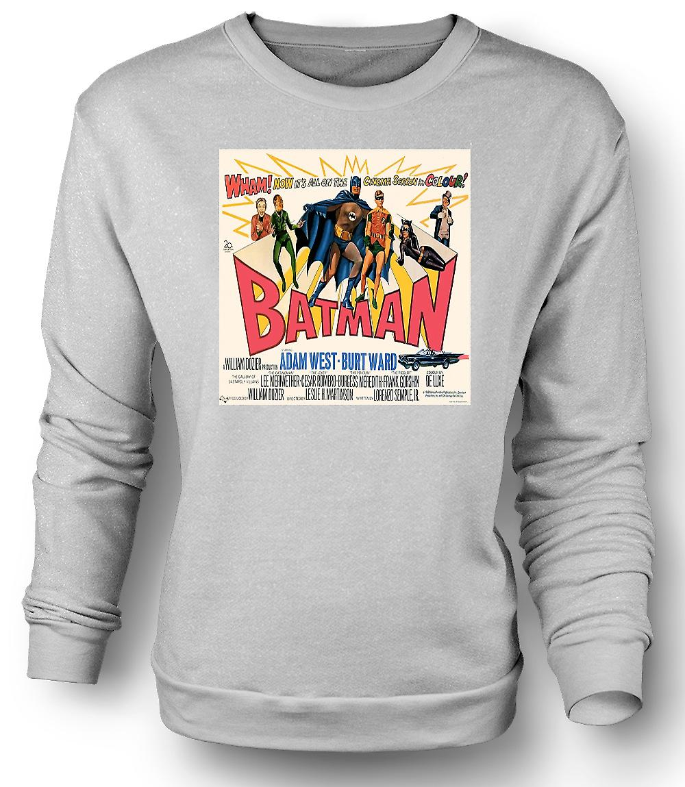 Mens Sweatshirt Batman Adam West - Classic B Movie - Poster