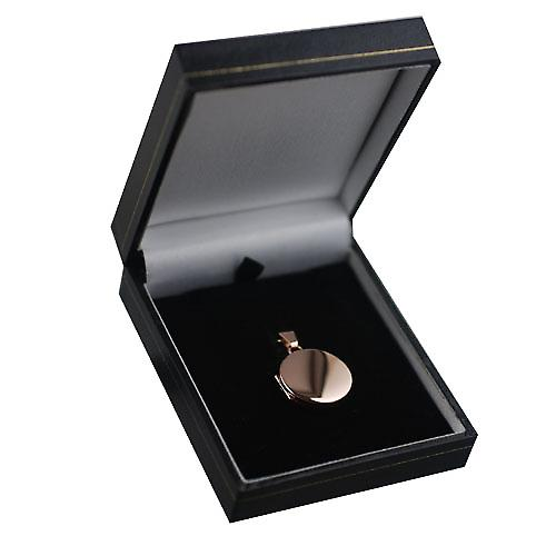 9ct Rose Gold 20mm plain flat round Locket