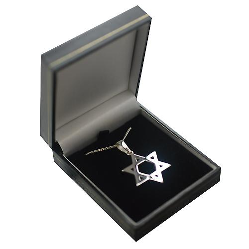 Silver 31x27mm plain Star of David Pendant on a bail with a curb Chain 18 inches