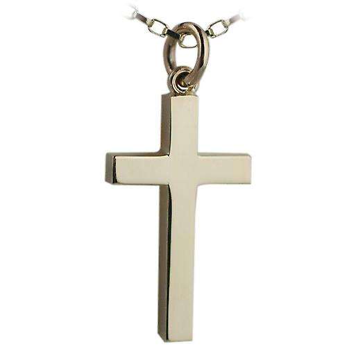 9ct Gold 25x15mm plain solid block Cross with belcher Chain 16 inches Only Suitable for Children
