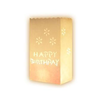10 Pcs Happy Birthday White Paper Tea Light Lantern Candle Bags for GiftsPartyWedding