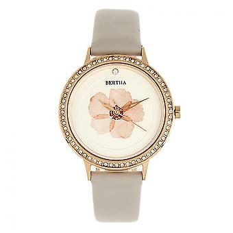 Bertha Delilah läder-Band Watch - Rose guld/grå