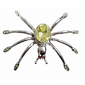 Stunning Silver Plated Lemon Crystals Spider Brooch Pin Gift
