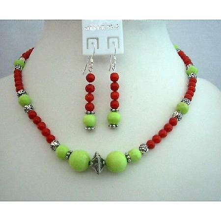 Handmade Coral Red Beads Dyed Lime Green Turquoise Beads Necklace Set
