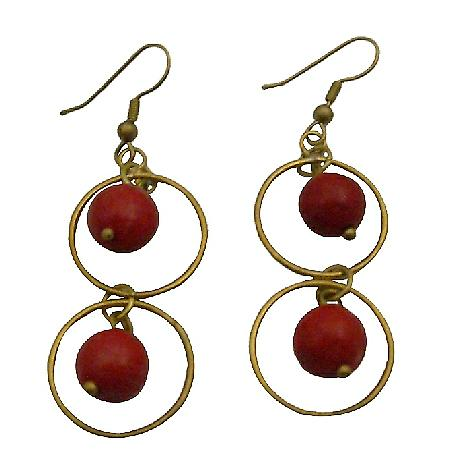 Winsome Oxidized Gold Circle Ring Coral Dangling Coral Beads Earrings