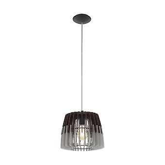 Eglo - Artana Single luz de teto pendente em acabamento de níquel acetinado com cinza e preto de madeira sombra EG96955