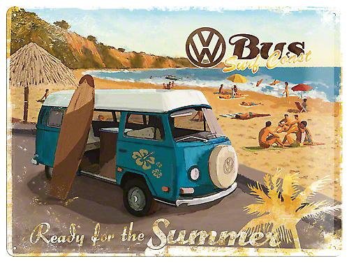 VW Volkswagen Camper Ready For Summer large embossed metal sign  (na3040)