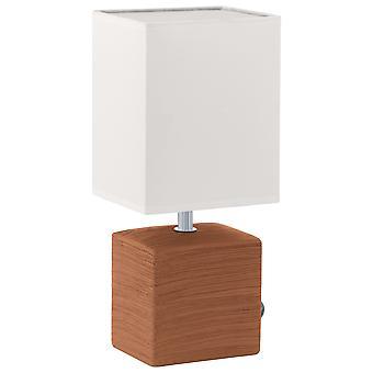 Eglo - candeeiro de mesa de cerâmica de Mataro Brown Square branco tecido sombra EG93045