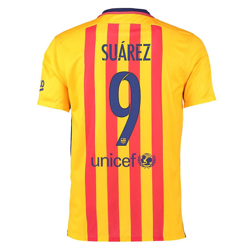 2015-16 Barcelona Away Shirt (Suarez 9) - Kids