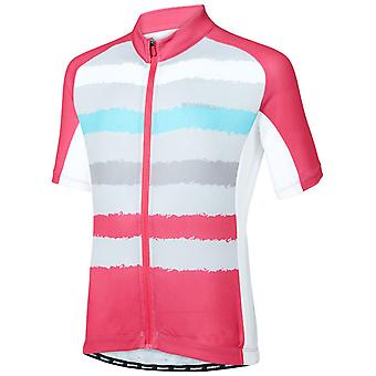 Madison Torn Stripes-Berry-Silver Grey 2018 Sportive Kids Short Sleeved Cycling