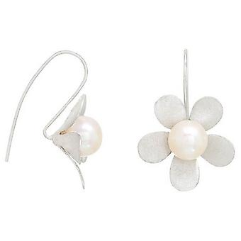 Pearls of the Orient Brushed Daisy Drop Earrings - Silver/White