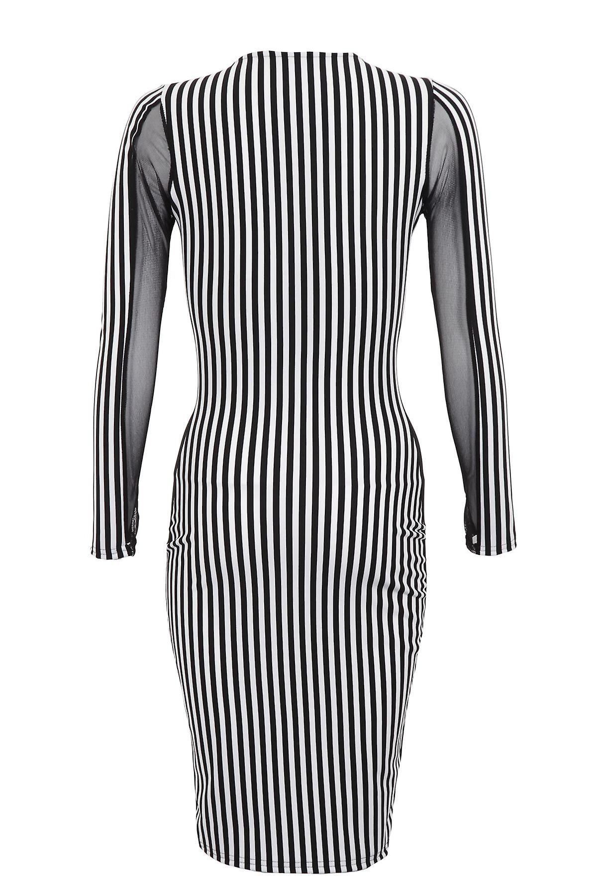 Ladies Black White Stripe Side Mesh Dress Slimming Effect Womens Dress