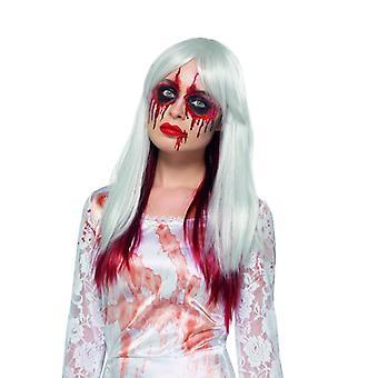 Weisse Langhaarperücke mit Blutansatz Halloween Karneval Accessoire Deluxe Blood Drip Ombre Wig