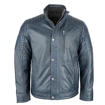 Men's Classic Navy Biker Jacket