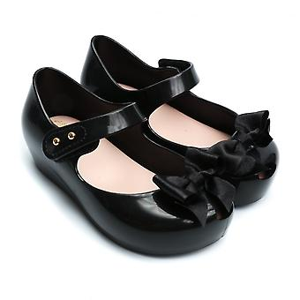 Melissa Shoes Mini Ultragirl Silk Bow Shoe, Black
