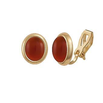 Eternal Collection Minuet Carnelian Gold Tone Stud Clip On Earrings