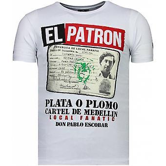 El Patron Narcos Billionaire-Rhinestone T-shirt-White