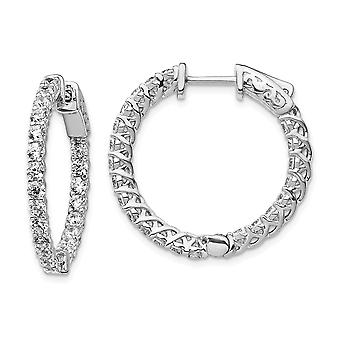 925 Sterling Silver Polished Prong set Safety clasp Rhodium-plated Rhodium Plated With Cubic Zirconia Hinged Hoop Earrin