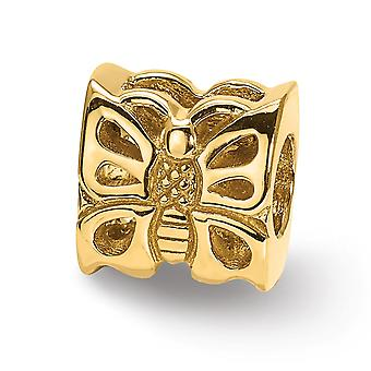 14k Yellow Gold Polished Reflections SimStars Butterfly Bead Charm